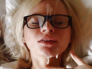 Blonde With Glasses Gets a facial