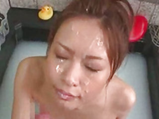 Delighting Asian chick's pussy with several vibrators