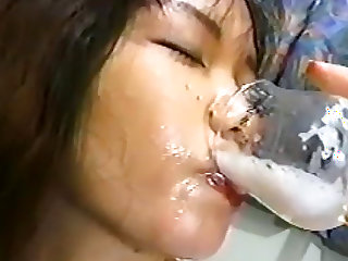 Cum eating and bukkake scene with Japanese petite girl