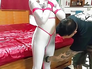Girl Tied Up in Silver Zentai Bondage