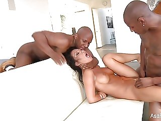 Super hot Asa Akira takes two big black cocks