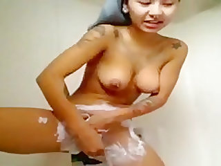 sexy tattoo girl shower